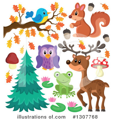 Forest Animals Clipart #1307768 by visekart