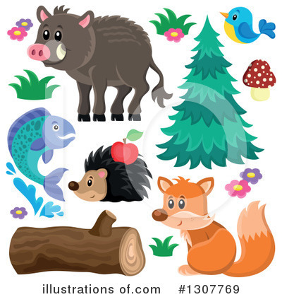Forest Animals Clipart #1307769 by visekart