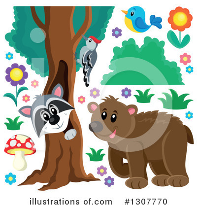 Forest Animals Clipart #1307770 by visekart