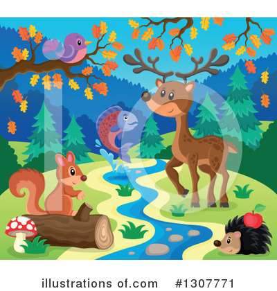 Forest Animals Clipart #1307771 by visekart