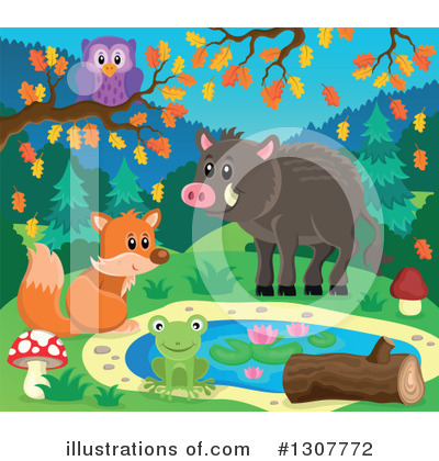 Forest Animals Clipart #1307772 by visekart