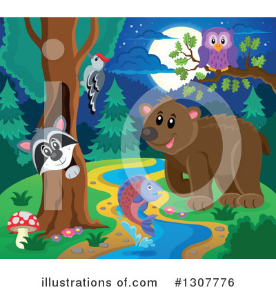 Forest Animals Clipart #1307776 by visekart