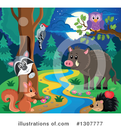 Royalty-Free (RF) Forest Animals Clipart Illustration by visekart - Stock Sample #1307777