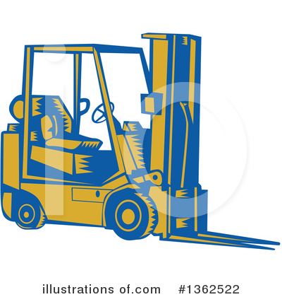 Royalty-Free (RF) Forklift Clipart Illustration by patrimonio - Stock Sample #1362522