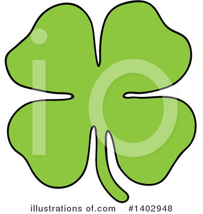 Royalty-Free (RF) Four Leaf Clover Clipart Illustration by LaffToon - Stock Sample #1402948