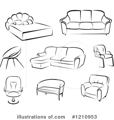 1210953 Royalty Free Furniture Clipart Illustration on black table white chairs