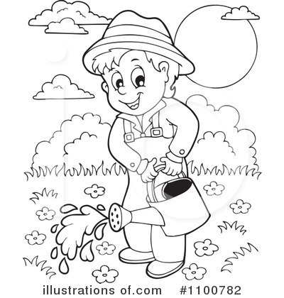 Royalty-Free (RF) Gardening Clipart Illustration by visekart - Stock Sample #1100782