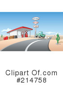 Royalty-Free (RF) Gas Station Clipart Illustration #214758