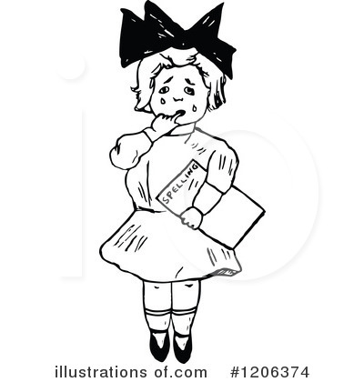 School Girl Clipart #1206374 by Prawny Vintage