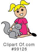 Girl Petting Cat Clipart #99126 by Pams Clipart