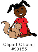 Girl Petting Cat Clipart #99155 by Pams Clipart