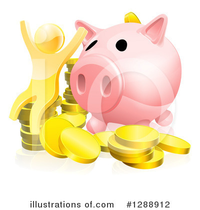 Piggy Bank Clipart #1288912 by AtStockIllustration
