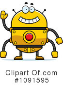 Royalty-Free (RF) Golden Robot Clipart Illustration #1091595