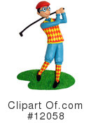 Royalty-Free (RF) golfing Clipart Illustration #12058