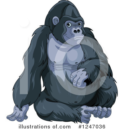 Royalty-Free (RF) Gorilla Clipart Illustration by Pushkin - Stock Sample #1247036