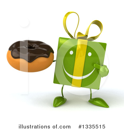 Royalty-Free (RF) Green Gift Character Clipart Illustration by Julos - Stock Sample #1335515