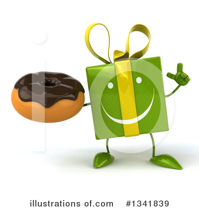 Green Gift Character Clipart #1341839 by Julos