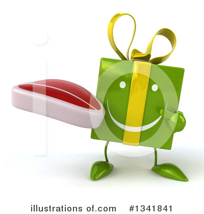 Green Gift Character Clipart #1341841 by Julos