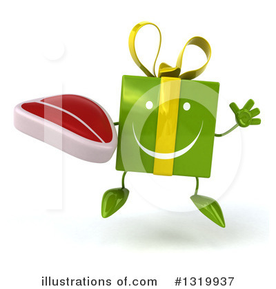 Green Gift Character Clipart #1319937 by Julos
