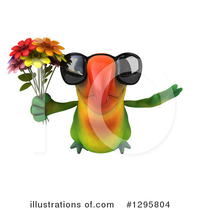 Royalty-Free (RF) Green Parrot Clipart Illustration by Julos - Stock Sample #1295804