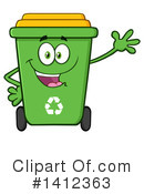 Green Recycle Bin Clipart #1412363 by Hit Toon