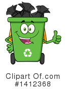Green Recycle Bin Clipart #1412368 by Hit Toon