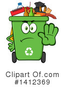Green Recycle Bin Clipart #1412369 by Hit Toon