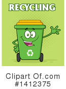 Green Recycle Bin Clipart #1412375 by Hit Toon