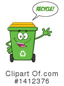 Green Recycle Bin Clipart #1412376 by Hit Toon
