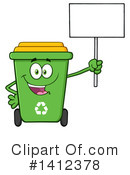 Green Recycle Bin Clipart #1412378 by Hit Toon