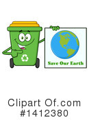 Green Recycle Bin Clipart #1412380 by Hit Toon