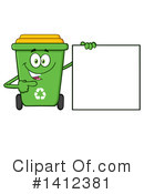 Green Recycle Bin Clipart #1412381 by Hit Toon