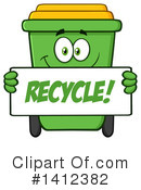Green Recycle Bin Clipart #1412382 by Hit Toon