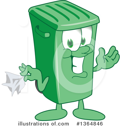 Green Trash Can Clipart #1364846 by Toons4Biz