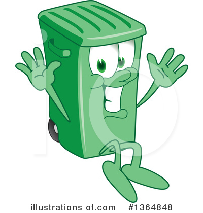 Green Trash Can Clipart #1364848 by Toons4Biz