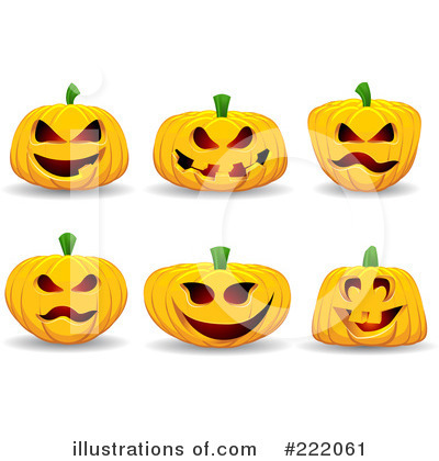 Royalty-Free (RF) Halloween Pumpkins Clipart Illustration by KJ Pargeter - Stock Sample #222061