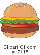 Royalty-Free (RF) Hamburger Clipart Illustration #17115