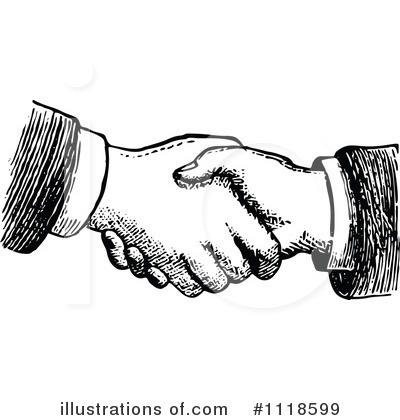 Royalty-Free (RF) Handshake Clipart Illustration by Prawny Vintage - Stock Sample #1118599