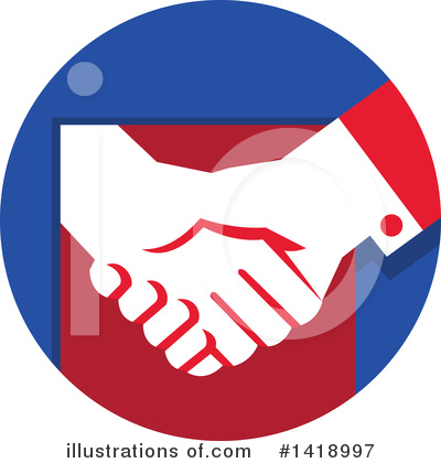 Royalty-Free (RF) Handshake Clipart Illustration by patrimonio - Stock Sample #1418997