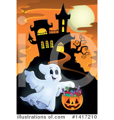 Royalty-Free (RF) Haunted House Clipart Illustration by visekart - Stock Sample #1417210