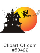 Royalty-Free (RF) Haunted House Clipart Illustration #59422