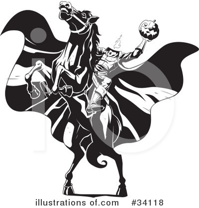 Royalty-Free (RF) Headless Horseman Clipart Illustration by Lawrence Christmas Illustration - Stock Sample #34118