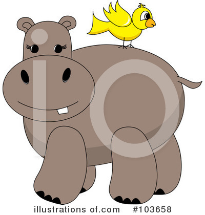 Royalty-Free (RF) Hippo Clipart Illustration by Pams Clipart - Stock Sample #103658