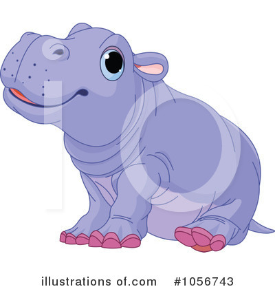 Royalty-Free (RF) Hippo Clipart Illustration by Pushkin - Stock Sample #1056743