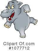 Royalty-Free (RF) Hippo Clipart Illustration #1077712