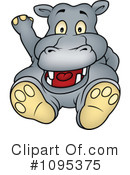 Royalty-Free (RF) Hippo Clipart Illustration #1095375