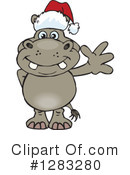 Royalty-Free (RF) Hippo Clipart Illustration #1283280