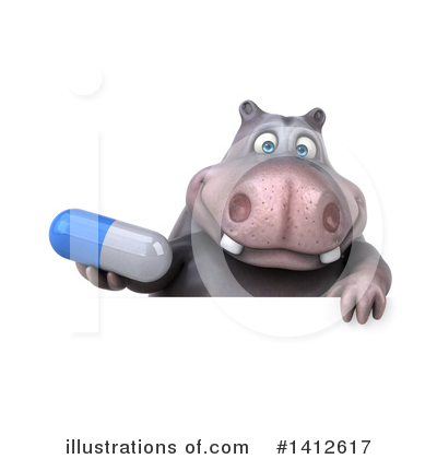 Royalty-Free (RF) Hippo Clipart Illustration by Julos - Stock Sample #1412617