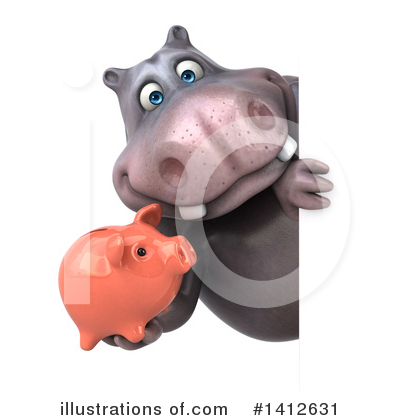 Royalty-Free (RF) Hippo Clipart Illustration by Julos - Stock Sample #1412631