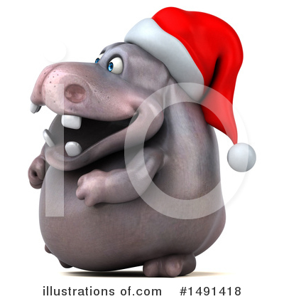 Christmas Hippo Clipart #1491418 by Julos